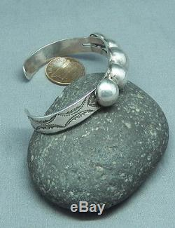 Vintage Fred Harvey Era Silver Domes Stamped Cuff Bracelet