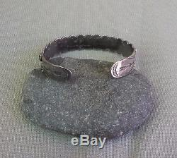 Vintage Fred Harvey Era Silver Green Snake Eye Turquoise Row Cuff Bracelet
