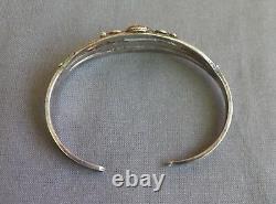 Vintage Fred Harvey Era Silver Petrified Wood or Agate Earthtone Cuff Bracelet