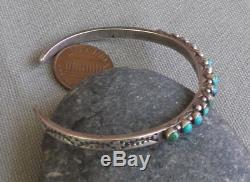 Vintage Fred Harvey Era Silver Snake Eye Petit Point Turquoise Row Cuff Bracelet