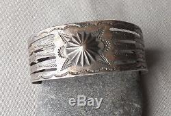 Vintage Fred Harvey Era Silver Stamped Arrows Snakes Thunderbirds Cuff Bracelet