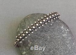 Vintage Fred Harvey Era Silver Stamped Beaded Cuff Bracelet