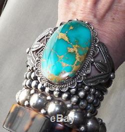 Vintage Fred Harvey Era Silver Stamped Big Royston Turquoise Cuff Bracelet