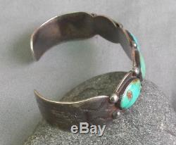 Vintage Fred Harvey Era Silver Stamped Blue Green Turquoise Row Cuff Bracelet