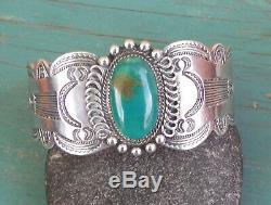 Vintage Fred Harvey Era Silver Stamped Green Turquoise Cuff Bracelet 47.8 Grams