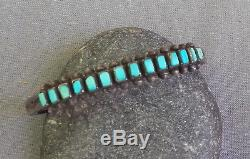 Vintage Fred Harvey Era Silver Stamped Squared Turquoise Row Cuff Bracelet