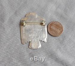 Vintage Fred Harvey Era Silver Stamped Thunderbird Pin Brooch