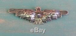 Vintage Fred Harvey Era Silver Stamped Wide Thunderbird Pin Brooch 3 1/2