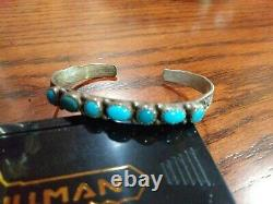 Vintage Fred Harvey Era Small Sterling Silver And Turquoise cuff