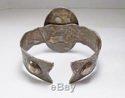 Vintage Fred Harvey Era Southwestern USA Sun Ray Sterling Silver Jasper Bracelet