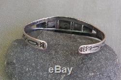 Vintage Fred Harvey Era Stamped Silver 3 Green Turquoise Cuff Bracelet