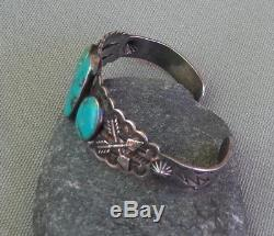 Vintage Fred Harvey Era Stamped Silver 3 Turquoise Crossed Arrow Cuff Bracelet