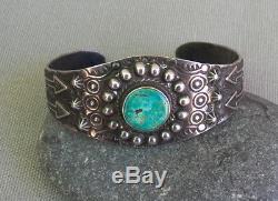 Vintage Fred Harvey Era Stamped Silver Green Turquoise Cuff Bracelet