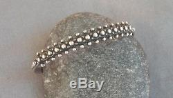Vintage Fred Harvey Era Sterling Silver Beaded Stamped Cuff Bracelet