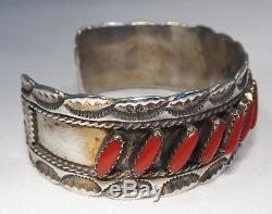 Vintage Fred Harvey Era Sterling Silver Coral Cuff Bracelet C1420