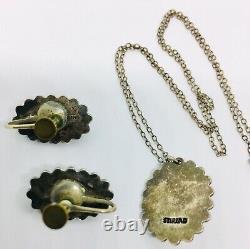 Vintage Fred Harvey Era Sterling Silver Dragons Breath Necklace & Earrings