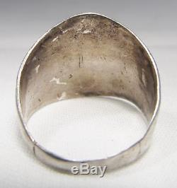 Vintage Fred Harvey Era Sterling Silver Etched Ring Sz 8.75 C1500