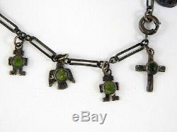 Vintage Fred Harvey Era Sterling Silver Green Turquoise Charm Bracelet Birds 925