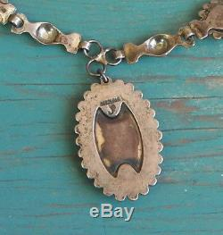 Vintage Fred Harvey Era Sterling Silver Green Turquoise JP Necklace Classic