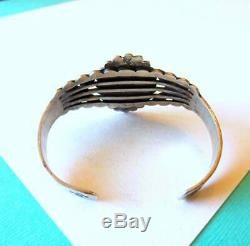Vintage Fred Harvey Era Sterling Silver Navajo Turquoise Cuff