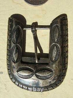 Vintage Fred Harvey Era Sterling Silver Ranger Belt Buckle Old Pawn Stamped