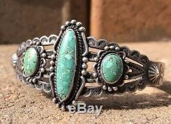 Vintage Fred Harvey Era Sterling Silver Stamped #8 Turquoise Cuff Bracelet
