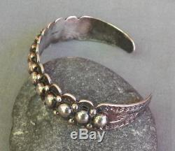 Vintage Fred Harvey Era Sterling Silver Stamped Beaded Domes Cuff Bracelet