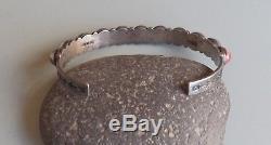 Vintage Fred Harvey Era Sterling Silver Stamped Dragons Breath Row Cuff Bracelet