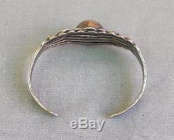 Vintage Fred Harvey Era Sterling Silver Stamped Maisels Dome Cuff Bracelet