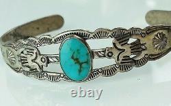 Vintage Fred Harvey Era Sterling Silver & Turquoise Bracelet