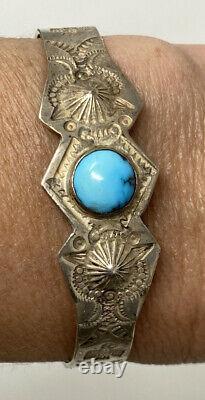 Vintage Fred Harvey Era Sterling Silver Turquoise Cuff Bracelet Hand Stamped