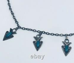 Vintage Fred Harvey Era Sterling Silver Turquoise Hand Stamp Arrowhead Necklace