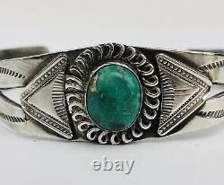 Vintage Fred Harvey Era Sterling Silver Turquoise Hand stamped Cuff Bracelet