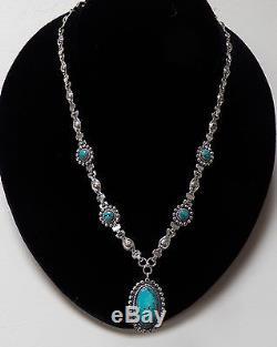 Vintage Fred Harvey Era Sterling Silver Turquoise Signed JP Jane Popivich Neckl