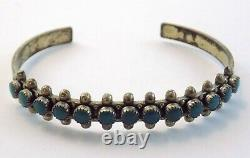 Vintage Fred Harvey Era Sterling Silver Turquoise Snake Eye Cuff Bracelet 6.5 In