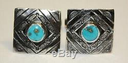Vintage Fred Harvey Era Sterling Silver & Turquoise Tie Bar & Cufflinks Set Rare