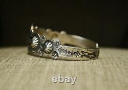 Vintage Fred Harvey Era Sterling Silver Whirling Log Cuff Bracelet Large Size