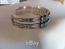 Vintage Fred Harvey Era Sterling Silver Zuni Snake Eyes Turquoise Cuff Bracelet