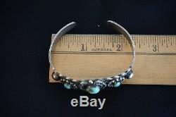 Vintage Fred Harvey Era Sterling Silver and Turquoise Cuff Bracelet Arrows