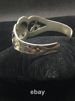 Vintage Fred Harvey Era Thunderbird Arrows Turquoise Sterling Silver Bracelet