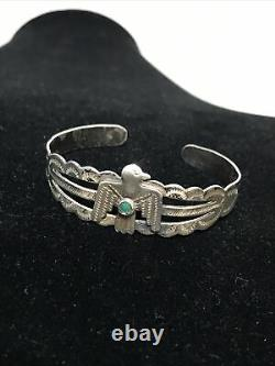 Vintage Fred Harvey Era Thunderbird Navajo Turquoise Coin Silver Cuff Products