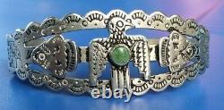 Vintage Fred Harvey Era Thunderbird Nickel Silver Turquoise Cuff Bracelet 15.4 G