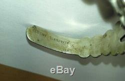 Vintage Fred Harvey Era Thunderbird Sterling Silver Turquoise Cuff Bracelet