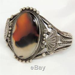 Vintage Fred Harvey Era Tourist Cuff Bracelet, Sterling & Agate, Native American