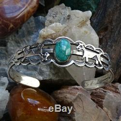 Vintage Fred Harvey Era Turquoise Cuff Bracelet Horses Stamp Decoration Sterling