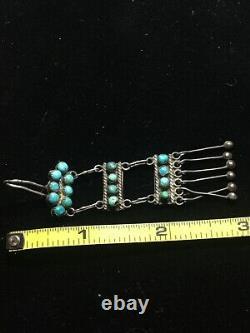 Vintage Fred Harvey Era Turquoise Snake Eye Sterling Silver Ladder Earrings