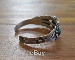 Vintage Fred Harvey Era Turquoise Sterling Silver Cuff Bracelet