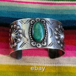 Vintage Fred Harvey Era Wide Sterling Silver Cuff/Bracelet with Repoussé