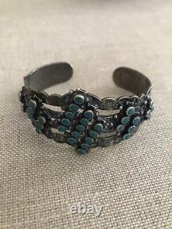 Vintage Fred Harvey Era Zuni Sterling Silver Snake Eye Turquoise Cuff Bracelet