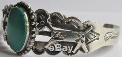 Vintage Fred Harvey Indian Applied Horses Silver Green Turquoise Bracelet
